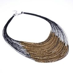 Fashion Handmade Lots of Golden Tone Beads Cluster Bunch Multilevel Pendant Necklace Jerollin