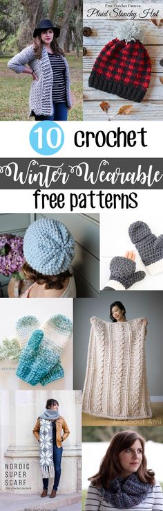 My top ten favorite free crochet patterns for winter wearables! Make some of these hats, scarves, and mittens before you begin to thaw! | Roundup from Sewrella