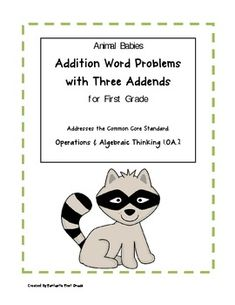 This packet of addition word problems with 3 addends is specifically written to address the common core math standard for first grade: Operations