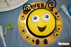 This is Buzzbee from the tv show The Hive. I made it for my sons first birthday with help from my cousin Angela.