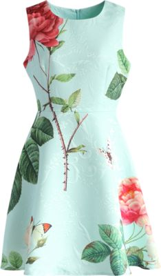 Chicwish Fond of Roses Jacquard Dress in Mint Blue
