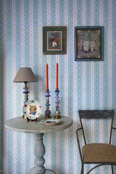 Papel pintado rayas dentelle stripe Room Seven azul agua, telas & papel