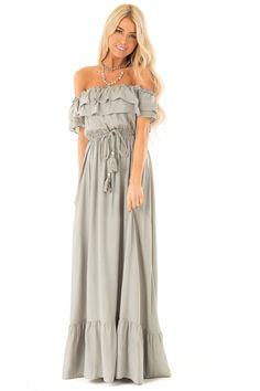 Sage Off the Shoulder Maxi Dress with Ruffle Overlay and Tie front full body Double Ruffle, Cute Boutiques, Boutique Dresses, Full Body, Overlay, Your Photos, Sage, Hemline, Photo Shoot