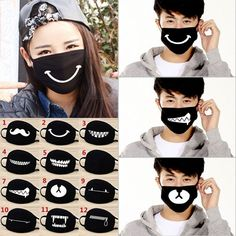 Unisex Cotton Face Masks Cute Pattern Solid Black Mask Fashion Cute Half Face Mouth-muffle 12 Kinds of Styles Easy Face Masks, Best Face Mask, Diy Face Mask, Mouth Mask Fashion, Crochet Mask, Nose Mask, Creation Couture, Style Wish, Black Mask
