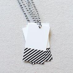 Gift Tag, Black & White Stripe
