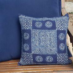 16 or 20 inch Indigo Batik Hmong Pillow / Cushion  - product images  of
