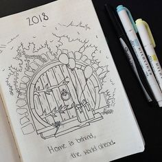 Bullet journal yearly cover page, The Hobbit bullet journal theme, hobbit door drawing, lotr drawings, lotr bullet journal theme. | @hey.imleah