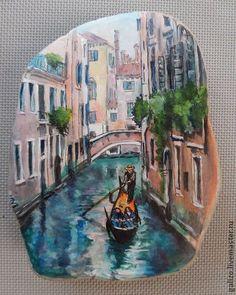 Камень с видом Венеции - оригинальный подарок,оригинальный сувенир,камень