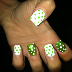 My St. patty's day nails:) I like the white with green polka dots but not the other way around