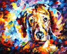 Dog 4 — Palette Knife Animal Wall Art Decor Oil Painting On Canvas By Leonid Afremov. Size: X 24 Knife Painting, Oil Painting On Canvas, Artist Painting, Painting Prints, Canvas Prints, Painting Clouds, Painting Trees, Art Print, China Painting