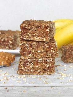 Maegan Brown from The BakerMama bakes up some hearty peanut butter banana oat bars that make for a healthy breakfast or snack.