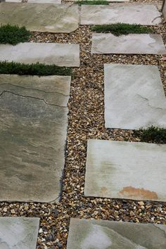 Sandstone paving slabs with gravel infills and creeping thyme #creepingthyme #peashingle #pavingslabs