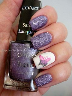 Purple Glitter and Butterfly Nails.
