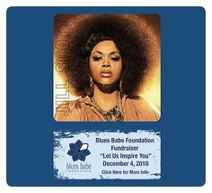 An advertisement for our Blues Babe Fundraiser with Jill Scott.