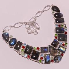 .925 Sterling silver natural labradorite+garnet+peridot+smoky+bt Necklace t303 #Handmade #Necklace