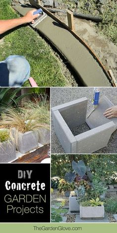 17 Awesome DIY Concrete Garden Projects Want to try some concrete in the garden? These DIY concrete planters, benches, fire pits and even concrete edging projects can change your garden! Diy Garden Projects, Outdoor Projects, Design Projects, Lawn And Garden, Garden Art, Garden Planters, China Garden, Garden Benches, Garden Pond
