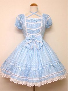Sweet Cross-belt Blue Cotton White Dots Lace Lolita Dress With Bow Kawaii Fashion, Lolita Fashion, Dress With Bow, Dress Up, Pastel Outfit, Angelic Pretty, Cute Outfits, Doll Outfits, Lolita Dress