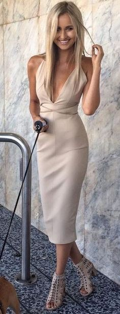 Nude Midi Dress                                                                             Source