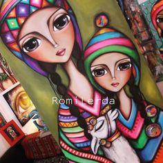 Rodeada de color con éstas mujeres del norte... me encanta esta obra😃😍 🧡💗💙💚🖤💜 #soyRomiLerda Nueva ob - romi_lerda_art Cute Animal Drawings, Art Drawings, Frida Art, Pottery Painting Designs, Character Design Girl, American Indian Art, Whimsical Art, Painting For Kids, Art Sketchbook
