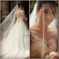 vestido de noiva lancamento princesa manga comprida de renda | -inri-vestido-noiva-manga-longa-bordado-renda-tule-transparente-noiva ...