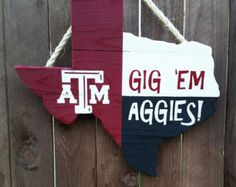Rustic Wooden Texas A&M University Texas Shaped by OldSchoolDesign