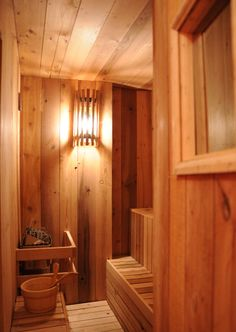 Any dream house must include a sauna. Building A Sauna, Building A House, Outdoor Sauna, Sauna Room, Best Cleaning Products, Spa Rooms, First Home, Sweet Home, Relax