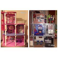 Barbie house transformed into a superhero house #superhero lair #boys dollhouse #action figure house