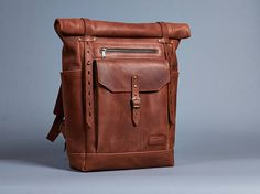 Brown leather backpack. Mens / Womens backpack. Hipster