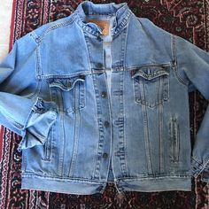 Men's Standard Trucker Levi's Denim Jacket Large Maybe worn once.  Awesome condition.  Soft, factory distressed denim. Levi's Jackets & Coats Jean Jackets