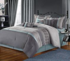 AmazonSmile - Chic Home 8-Piece Euphoria Embroidered Comforter Set, Queen, Blue/Grey -