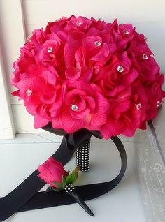 Hot Pink Rose and Black Ribbon Bridal Wedding Bouquet & Boutonniere Set: Silk Flower Arrangement. bridal bouquet made with Hot pink roses wrapped with black ribbon on the Handle 1 matching boutonniere Prom Bouquet, Bridal Bouquet Pink, Flower Bouquet Wedding, Prom Corsage, Boquet, Brooch Bouquets, Flower Bouquets, Corsages, Pink Black Weddings