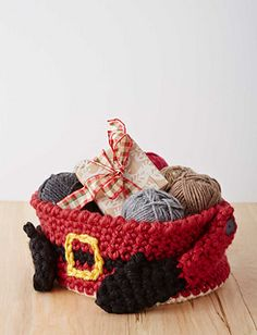 This fun, festive basket is perfect for stashing holiday treats. (Yarnspirations)