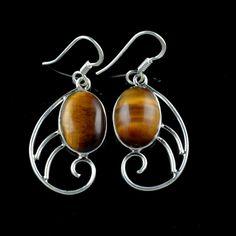 925 Sterling Silver Natural Tigers Eye Gemstone Handmade Earrings Jewelry #Handmade #DropDangle #Party