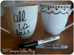 The Sharpie marker decorated mugs and plates revisited - use paint-based Sharpie markers, not regular ones!