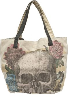 """LOUNGEFLY SKULL FLOWER TOTE    The Loungefly Skull Flower tote is perfect for the gal who needs a giant bag to carry all of her things! This over-sized, canvas tote bag has a large anatomical skull on one side surrounded by flowers in muted distressed colors, backside features tan  off white stripes with flowers in the corner, faded blue straps with specs of gold, magnetic snap closure  a daisy print interior lining in shades of gray.  21"""" by 14"""" by 9""""    $56.00"""