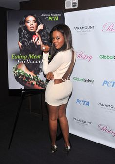 angela simmons and her PETA ad. But her dress is bangin'