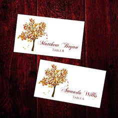 AUTUMN Wedding Flat Place Cards Template by PixelRomance4ever