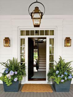 Lacecap Front Porch Plants, Front Porch Flowers, Summer Front Porches, Front Porch Design, Patio Plants, Front Porch Garden, Window Plants, Potted Plants, Front Door Entrance