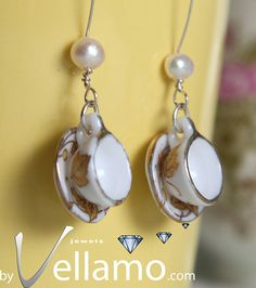 Delicate sterling silver teacup / coffee cup earrings, porcelain, fashion earrings with cream pearls