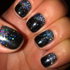 Black Pool Shellac with black multi glitter #yesssss