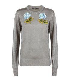 Women: Knitwear Dolce & Gabbana Floral Appliqué Lurex Jumper