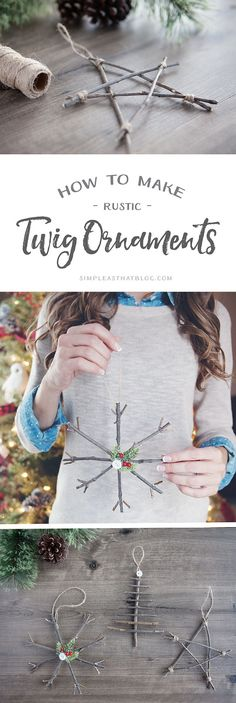 Bring a touch of nature indoors this year as you decorate your tree – learn how to make rustic twig Christmas ornaments! They're simple, inexpensive and look beautiful! Crafts How to Make Rustic twig Christmas Ornaments Natal Natural, Navidad Natural, Diy Christmas Ornaments, Christmas Projects, Holiday Crafts, Christmas Decoration Crafts, Rustic Christmas Crafts, Twig Christmas Tree, Christmas Ideas