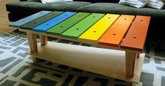 Playful table that would be easy to make with scrap wood or a pallet! and a way to bring more color into my house/garden!