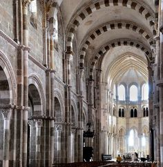 Basilique Sainte-Marie-Madeleine at Vezelay, France--I worshipped here on Easter Sunday, after seeing a gorgeous sunrise over the valley on an early morning walk.  One of my best memories!