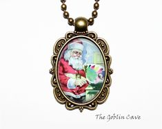 Santa Claus Necklace, Christmas Jewelry, Bronze Pendant, Stocking Stuffer Gift Christmas Necklace, Christmas Jewelry, Bronze Pendant, Pocket Watch, Santa, Pendant Necklace, Trending Outfits, Unique Jewelry, Handmade Gifts