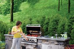 Build Your Own Outdoor Kitchen - This Old House Outdoor Kitchen Plans, Outdoor Kitchens, Grill Island, Stone Veneer, Old Houses, Backyard, Patio, Canning, How To Plan