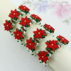Christmas Napkin Rings Poinsettia Handmade Red by TamsyTrends, $30.00