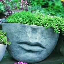 Add artistry into your garden by adding the Campania International Medium Faccia Cast Stone Planter . This cast stone planter has a detailed face design. Face Planters, Stone Planters, Outdoor Planters, Garden Planters, Outdoor Gardens, Planter Pots, Outdoor Art, Outdoor Stone, Outdoor Living