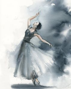 Buy Ballerina in blue grey Original Watercolor Painting Watercolor by Sophie Rodionov on Artfinder. Discover thousands of other original paintings prints sculptures and photography from independent artists. Watercolor Artists, Watercolor Illustration, Watercolour Painting, Watercolor Dancer, Painting Art, Dress Painting, Grey Art, Blue Grey, Ballerina Painting