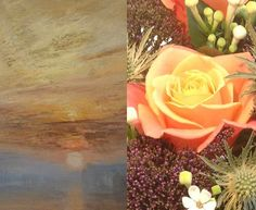 Miss Piggy Rose - I chose this variety as it is the only Rose that perfectly represents a sunset. The colour needed to dominate the bouquet as does Turners sky. Peach Roses also symbolise appreciation which seemed apt for any audience of this scene. - Prestige Flowers for the National Gallery Shop Turner Bouquet inspired by The Fighting Temeraire #NGArtBouquet #Bouquet #Florist #Flowers #Art